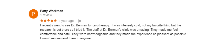 Cryotherapy Review - Patty