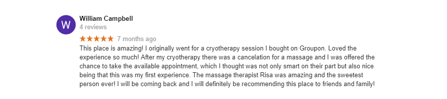 Cryotherapy Review - William